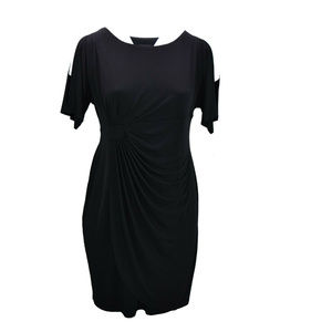 Connected Apparel Womens Dress Black Faux Wrap New